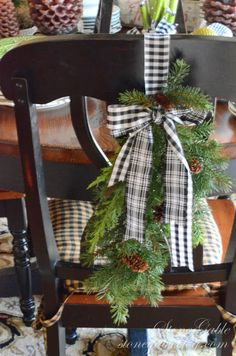 Use pretty pine garland and fabric to decorate dining chairs for holidays - Stonegable Blog