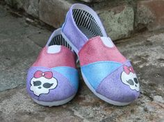 Monster High theme shoes by sweetfeetbybrit on Etsy, $40.00 Toddler Shoes, Baby Shoes, Monster High Shoes, Girl Boards, Vampire Girls, My Boys, To My Daughter, Girl Fashion, Hand Painted
