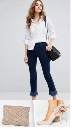 White shirt+fringed skinny jeans+natural bow backless pumps+black bucket bag or sand clutch. Spring Dressy Casual Otufit 2017