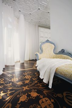 Marcel Wanders Interior  --dark painted floor with light stencil