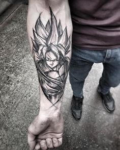 Tatuagem do Goku Super Saiyajin. Veja mais tatuagens do Dragon Ball no blog Marco da Moda