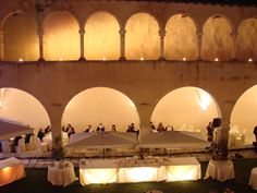 chiostro  a sera. cloister at night. #wedding #fontecchio #laquila #italy #food