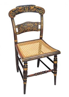 SIDE CHAIR / Lambert Hitchcock (1795–1852), Hitchcocks-ville, Connecticut, 1826–1829, paint, bronze-powder stenciling, and gold leaf on wood with cane seat, 34 3/4 x 18 x 15 in., American Folk Art Museum, gift of the Historical Society of Early American Decoration, 58.29, photo by John Parnell