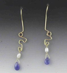 Tanzanite tear, Fresh water Pearl, 14K yellow gold earrings.  Hammered 14K yellow gold freeform scroll design.  Very light and beautiful! by charsdesignsjewelry. Explore more products on http://charsdesignsjewelry.etsy.com