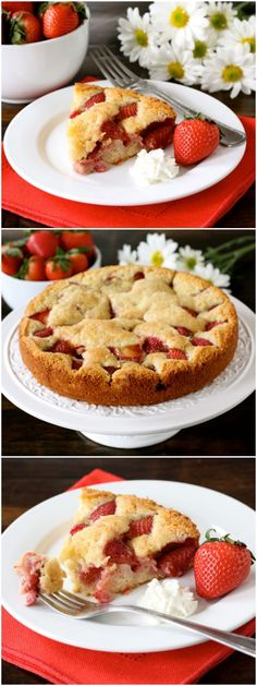 Easy Strawberry Cake Recipe on twopeasandtheirpo... Make this cake! It's the perfect spring dessert!
