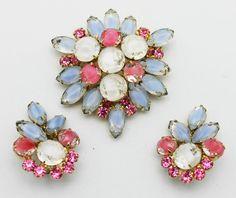 Vintage Juliana Brooch Earrings Pastel Set by HeirloomBandB, $120.00