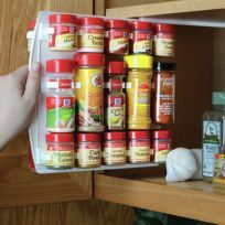 SpiceStor Organizer Spice Rack 40 Clip x Color: White Size: x x Hanging design. Fits all standard round sizes containers less than diameter. SpiceStor organizer hangs from you cabinet shelf. Home Organization Hacks, Kitchen Organization, Kitchen Storage, Organizing Ideas, Spice Rack Organization, Camper Hacks, Rv Hacks, Camper Ideas, Caravan Ideas
