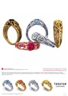 Takayas Mizuno won iron in the 2013-12014 A'Design Jewelry Design Completion in Italy, for his Bio-mechanical Engagement Ring