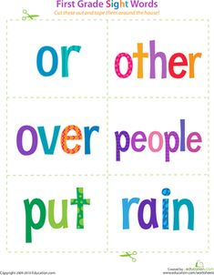Help your 1st grader gain confidence as a reader with sight word flash cards that you can cut out and tape around the house. Includes words from or to rain.