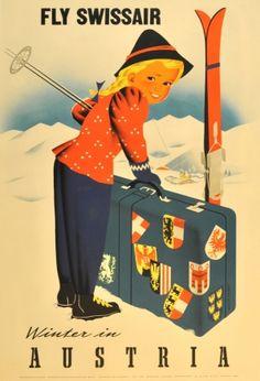 Winter in Austria (Swissair), 1950s - original vintage poster by Atelier Hofmann listed on AntikBar.co.uk