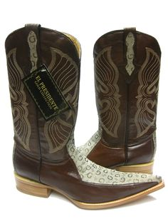 MEN'S BROWN LEATHER BOOTS DESIGNER WESTERN FANCY COWBOY RODEO EXOTIC ROCK STAR Mens Designer Boots, Brown Leather Boots, Rodeo, Cowboy Boots, Westerns, Pattern Design, Exotic, Fancy, Stars
