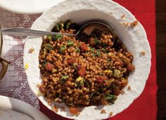 Eastern spices like cumin and cardamom add bright notes to this earthy, pleasantly chewy pilaf, enriched with pistachios and dried apricots. Serve this at Thanksgiving as a lighter alternative to traditional bread stuffing.