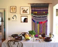 Dining Room Envy: Wonderful Wall Hanging in the Home of Beatrice Valenzuala Dinning Room: painted tables and chairs Cob House: Din. Bohemian House, Bohemian Interior, Bohemian Decor, Boho Gypsy, Bohemian Style, Gypsy Home, Come Dine With Me, Boho Kitchen, Home Textile