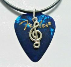 """Blue Fender guitar pick necklace music note charm size 17"""" - 19"""" great xmas gift #12345market #Pendant Guitar Pick Necklace, Guitar Picks, Music Notes, Xmas Gifts, Charmed, Pendant Necklace, Blue, Ebay, Jewelry"""