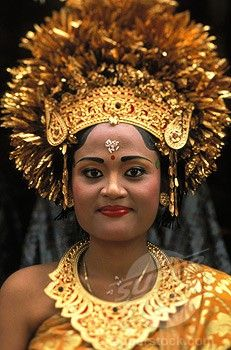 Indonesia, Bali, Traditional wedding bride in full headdress (and costume)