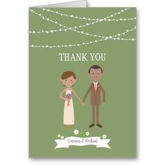 Custom Cartoon Couple Wedding Thank You Card
