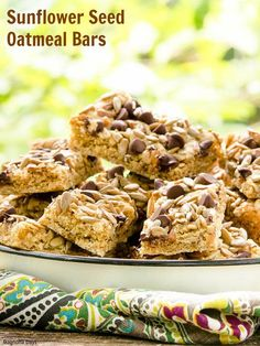 Sunflower Seed Oatmeal Bars with chocolate chips are a wonderful snack. Make these delicious homemade bars for your family and friends. #SundaySupper