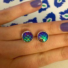 Mermaid Earrings 10mm Purple Dragon Fish by OnlyYoursJewelry