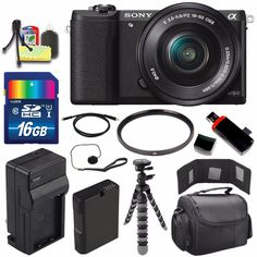 "Sony Alpha a5100 Mirrorless Digital Camera with 16-50mm Lens (Black) + Battery + Charger + 16GB Bundle 1 - International Version (No Warranty). This version is originally intended for sale outside the USA, Includes ALL USA Cables and Plugs. User Manual May Not Included. Sony Alpha A5100 Digital Camera w/ 16-50 Lens Black. Sony Alpha A5100 Digital Camera w/ 16-50 Lens Black - 24.3MP APS-C Exmor HD CMOS Sensor, BIONZ X Image Processor, Gapless On-Chip Lens Design, 3.0"" 921.6k-Dot Tilting..."