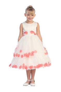 Ivory/Coral Double Layer Petal Flower Girl Dress