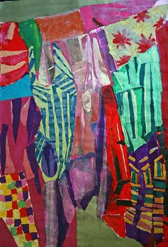 WASHING DAY by Louise Wilde 84cm x 60cm collage on paper