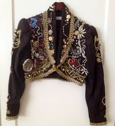 VINTAGE Black Crystal Bead Cropped Jacket by NYVintageCouture Rodeo Drive piece from the 70s and 80's. It is a classic style and cut. Incredibly tailored and made from the finest vintage fabric, lace, and Swarovski crystal, rhinestones, crystal rhinestone brooch's  www.etsy.com/shop/NYVintageCouture