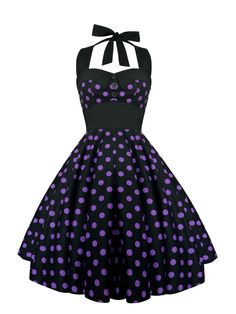 Rockabilly Black Polka Dot Dress Halter Vintage Pin Up 1950s Retro Gothic Lolita Steampunk Swing Prom Christmas Party Plus Size Clothing by LadyMayraClothing on Etsy https://www.etsy.com/listing/207125422/rockabilly-black-polka-dot-dress-halter