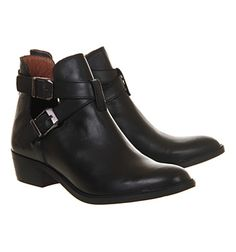 Office Bronson Cut Out Black Leather - Ankle Boots