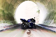 My Yamaha YZF R1 at a sunny day ride through a vintage tinted tunnel.