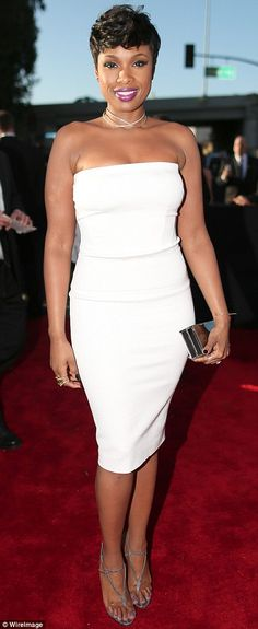 Another beauty in white: Jennifer Hudson looked cool in her strapless mini dress that was ...