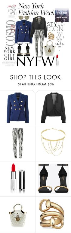 """""""NYFW'16"""" by jasnacole ❤ liked on Polyvore featuring Rika, Balmain, IRO, Lana, Givenchy, Yves Saint Laurent, Gucci, Fendi and NYFW"""