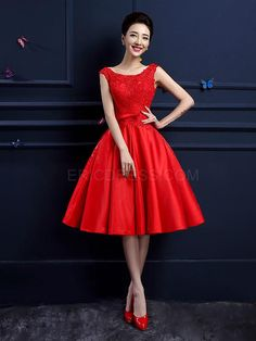 Ericdress A-line Cap Sleeves Knee-Length Lace Prom Dress 1