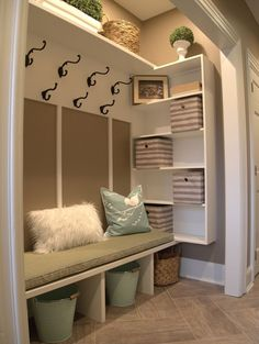 Just a few weeks ago I helped a client turn an unorganized unused hall closet into a family friendly mud room. Thought I would share...