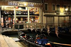 Hard Rock Cafe, Venice, Italy. How cool with the gondolas parked in front!