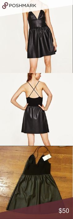 NWT Zara faux leather dress with straps Faux leather v neck dress with crossover straps and side zipper.  Bust 13 inches Length 33.5 inches Zara Dresses
