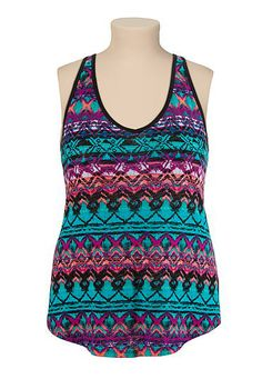 1fd189f54a8f57 Printed cross back plus size tank (original price