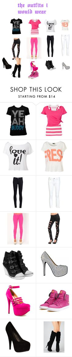 """outfits ih would wear"" by amber-mzskittlez-allday ❤ liked on Polyvore featuring White Label, Lipsy, THVM, Helmut Lang, Tripp, Ash, Luichiny and Supra"
