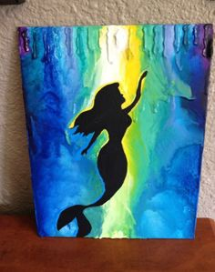 """This is where I got the idea to do my dolphin melted crayon art, which I pinned a while ago on this same board. This ones cute because of the ray of """"sunshine"""" going down the middle !!!! (;"""