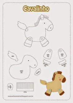 ARTESANATO COM QUIANE - Paps,Moldes,E.V.A,Feltro,Costuras,Fofuchas 3D: molde cavalinho para feltro e e.v.a: