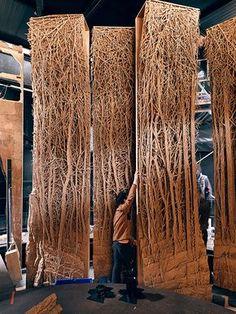 Cardboard Sculpture, Cardboard Art, Abstract Sculpture, Sculpture Art, Stage Set Design, Bamboo Art, Robot Concept Art, Found Object Art, Deco Design