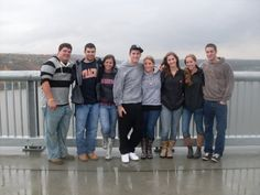 Marist Students enjoying the Walkway Over The Hudson on a rainy day.