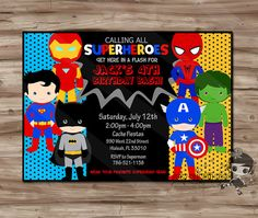 SUPERHERO Birthday Invitation, Superhero Invite, SuperHeroes Birthday, Superman, Spiderman, Batman, Superhero Digital Printable, JPG File