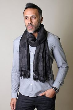 Anika Dali Men's Python Pattern Scarf with Tassels, Silky Soft (Black/Grey/Brown) at Amazon Men's Clothing store: Fashion Scarves