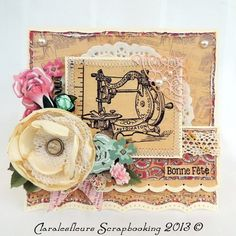 DT Art Scrapbooking Kit ... Card with Needle and Thread for the challenge of the week