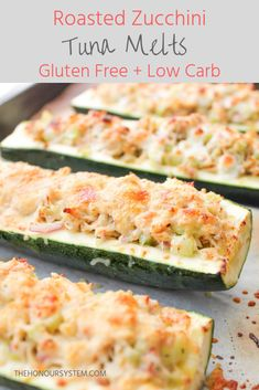 Roasted Zucchini Tuna Melts - Easy dinner recipe - The Honour System - Low carb, healthy gluten free dinner recipe! These Roasted Zucchini Tuna Melts make for an easy, qu - Gluten Free Recipes For Dinner, Healthy Dinner Recipes, Recipes For Tuna, Gluten Free Lunches, Easy Recipes, Budget Recipes, Meals With Tuna, Gluten Free Dinners, Carb Free Dinners
