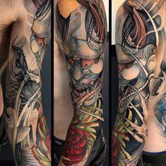 Hannya Mask Tattoo, Hanya Tattoo, Demon Tattoo, Arm Tattoos, Sleeve Tattoos, Hannya Maske, Sailor Jerry Tattoo Flash, Oni Demon, Japanese Tattoo Art