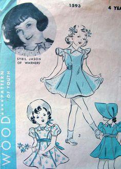 Star di Hollywood film del 1930 modello 1593 / dolce Toddler Girls' abito, mutandine e Sunbonnet * taglia 4 di anne8865 su Etsy https://www.etsy.com/it/listing/218755447/star-di-hollywood-film-del-1930-modello