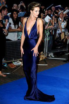 Rosie Huntington-Whiteley-Beautiful Blue Burberry dress
