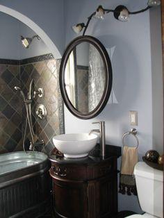 Ambers Unique Bathroom, Stock Tank Bathtub, And Vessel Sinks, Two Matching  Vessel Sinks