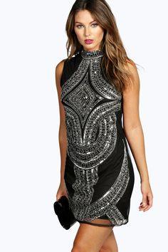 Sleeveless High Neck Embellished dress 4ufashion.eu